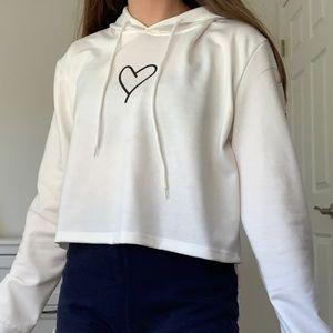 white heart hoodie